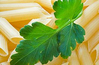 Macaroni with a leaf of parsley close upMacaroni with a leaf of parsley close up