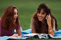 Students Outside on Cell Phone