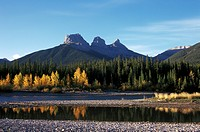 Bow River and Three Sisters Mountain, Canmore, Alberta, Canada