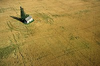 Aerial of Farmhouse and field, Saskatchewan, Canada