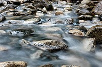 Stream flowing over rocks, Squamish, British Columbia, Canada
