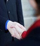 Businessman and businesswoman give each other a handshake