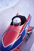 Close_up of a man in a bob sled