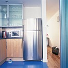 View of a modern kitchen with a steel finish fridge (thumbnail)