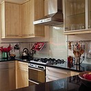View of a wood and stainless steel kitchen