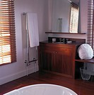 Bathroom with a wooden floor