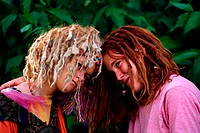 Two young girls with dread locked hair