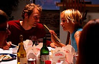 couple talking at a restaurant