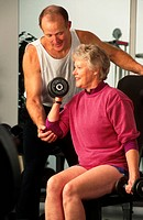 elderly woman weight training