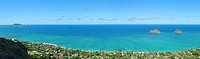 Hawaii, Oahu, View of windward Oahu. Part 2 of 3, panoramic