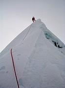 Climbing an unclimbed summit in the Bhutanese Himalaya, Bhutan, Asia.