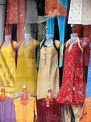 The Mannequins & Traditional Cloths, Punjabi dresses arranged on window display of ladies readymade garment shop  Pune, Maharashtra, India
