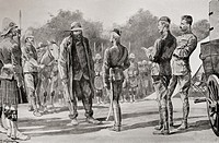 Majuba Day  General Cronje surrenders to Lord Roberts at Paardeberg, South Africa, February 27th,1900  From the book South Africa and the Transvaal Wa...
