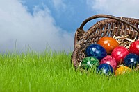 Colored Easter Egg in a basket