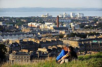 The City and Firth of Forth from the top of Calton Hill. Edinburgh. Scotland. Great Britain.