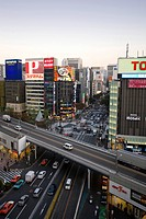 View into the Harumi Avenue in the Ginza District, Tokyo city, Japan, Asia