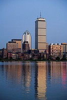 Prudential tower, Back Bay skyline at sunset across Charles river, Boston, Massachusetts, USA