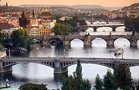 View of the bridges over the Vltava river, Prague, CZ