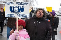 River Rouge, Michigan - Members of United Steelworkers Local 1299 picket Great Lakes Steel, a subsidiary of US Steel, protesting that the company viol...