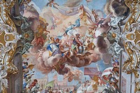Ceiling fresco of a church, Diessen am Ammersee, Germany, directly below