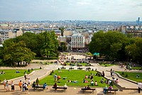 View from Sacre Coeur to Paris, France, high angle view