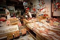 Street fishmongers in Wan Chai, Hong Kong, China
