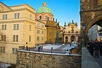 Charles Bridge and Krizovnicke namesti square winter Prague Czech Republic Europe