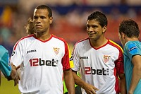 Brazilian Sevilla FC players Luis Fabiano left and Renato right  UEFA Champions League game between Sevilla FC and FC Unirea Urziceni, Sanchez Pizjuan...