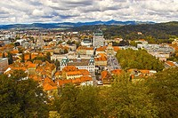 View of the city of Ljubljana, Slovenia, taken from the tower of Ljubljana Castle