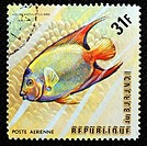 Queen Angelfish Holacanthus ciliaris, Atlantic ocean, postage stamp, Burundi, 1974