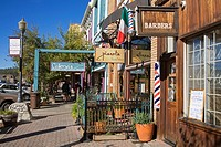 Stores on Commercial Row in Truckee, California, USA
