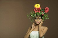 Female fashion model with flowers in hair
