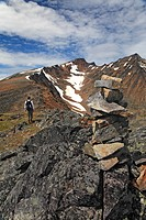 Hiker on trail up to peak of Hudson Bay Mountain, Smithers, British Columbia