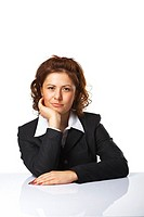 Pretty confident business woman against white background