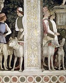 Camera degli Sposi: Grooms with Dogs detail by Andrea Mantegna, fresco, 1474, 1431_1506, Italy, Mantua, Palazzo Ducale