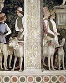Camera degli Sposi: Grooms with Dogs detail by Andrea Mantegna, fresco, 1474, 1431_1506, Italy, Mantua, Palazzo Ducale
