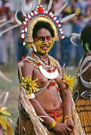 Mekeo woman performing at a sing-sing in Papua New Guinea
