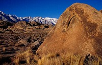 Boulders with mountains in the background, Alabama Hills Recreation Area, California, USA