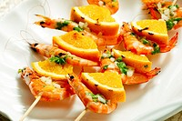 prawn skewers with orange