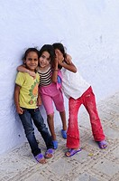 Three girls in the Medina, Chefchaouen, Morocco