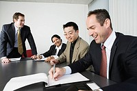 View of businesspeople in an office