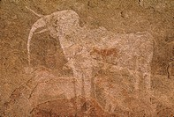 Cave painting of an elephant by prehistoric bushmen, Philipp´s Cave, Ameib, Namibia, West Africa.