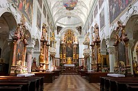 Nave and high altar of St  Peter´s abbey church  Salzburg, Austria