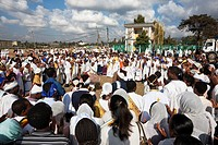 groups of dancers and musicans are celebrating timkat  Timkat ceremony of the ethiopian orthodox church in Addis Ababa  timkat or Epiphany is the bigg...
