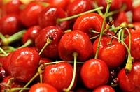 Plate of red cherries