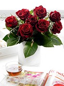 Bouquets of dark red roses