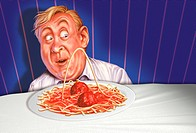 Conceptual 3D Illustration of a diabetic patient surprised at the rise of a strand of spaghetti forming a typical high glucose curve.