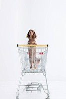 Daschund in a shopping cart