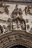 Detail of the main fa&#231;ade, church of Santa Maria la Real, Aranda de Duero, Burgos province, Castilla-Leon, Spain
