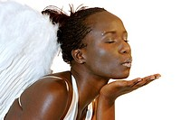 african woman with angel wings, black angel